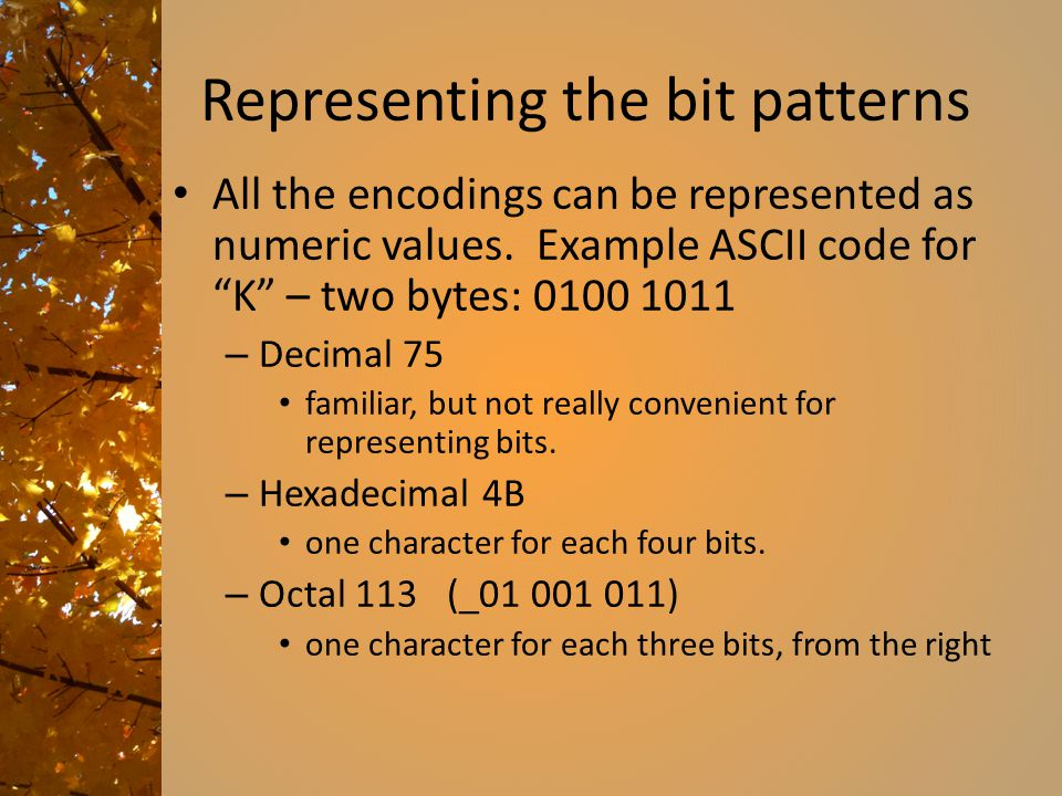 """Representing the bit patterns All the encodings can be represented as numeric values. Example ASCII code for """"K"""" – two bytes: 0100 1011 – Decimal 75 f"""
