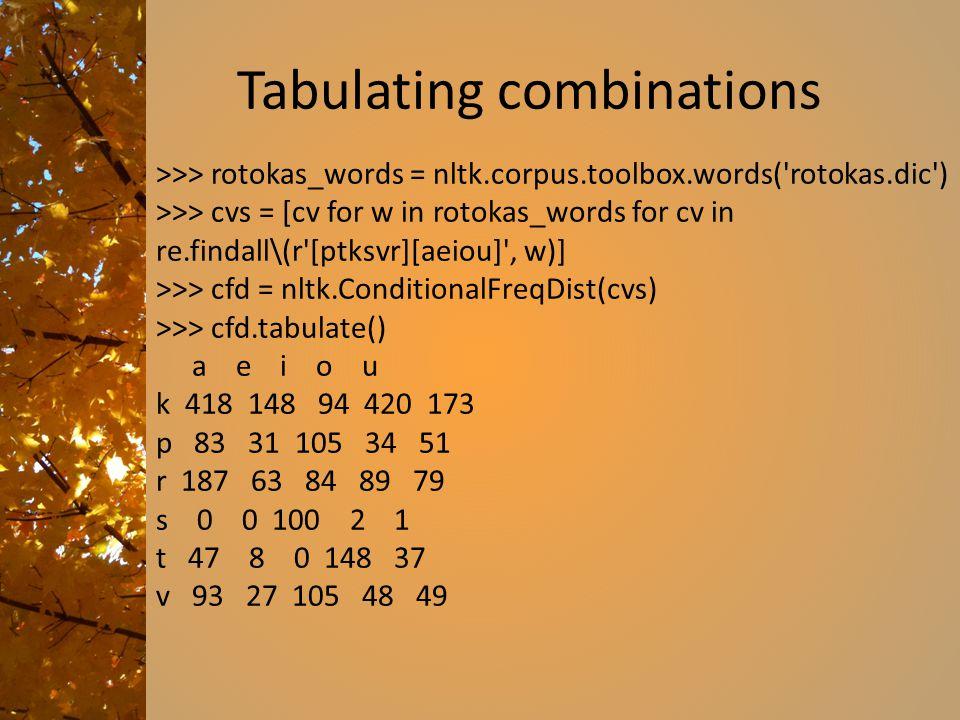 Tabulating combinations >>> rotokas_words = nltk.corpus.toolbox.words('rotokas.dic') >>> cvs = [cv for w in rotokas_words for cv in re.findall\(r'[ptk