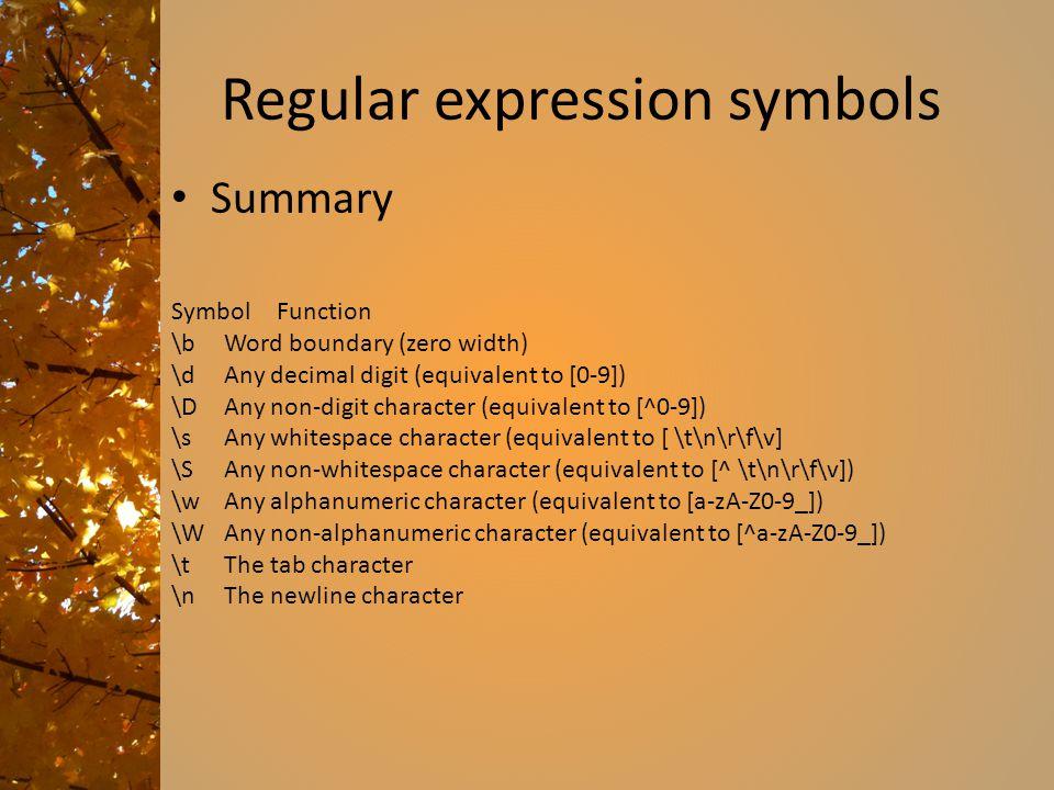 Regular expression symbols Summary SymbolFunction \bWord boundary (zero width) \dAny decimal digit (equivalent to [0-9]) \DAny non-digit character (eq