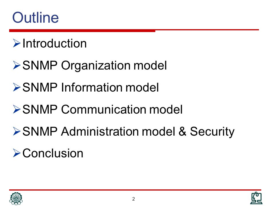 Outline  Introduction  SNMP Organization model  SNMP Information model  SNMP Communication model  SNMP Administration model & Security  Conclusion 3