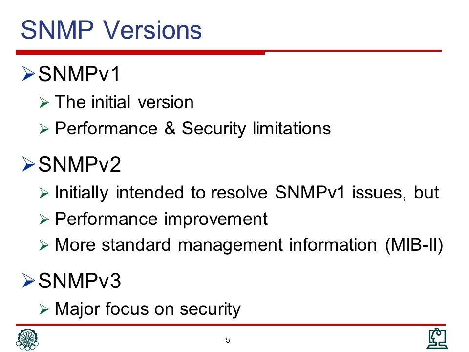 Step 3: Using the MIB (cont'd)  Compiling MIB in Agent  Is developing an executable code from MIB  Based on an existing agent framework  Example  Net-SNMP agent  Implements SNMP protocol (we don't need to develop it)  Provides an API to develop plug-in (module)  A MIB to read OSPF version is implemented as a module  It uses the Net-SNMP API to connect the agent core  It uses the vendor specific API to access the version of the OSPF 86