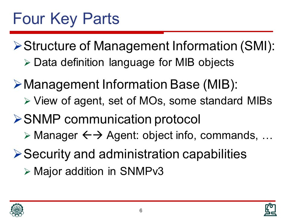SNMP Operations 17 Get Request Get Response ManagerAgent GetNext Request Get Response Manager Agent Set Request Get Response ManagerAgent Trap ManagerAgent Get GetNext Set Trap