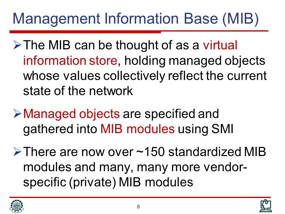 Outline  Introduction  SNMP Organization model  SNMP Information model  ASN.1 review  SMI & MIB  MIB development  SNMP Communication model  SNMP Administration model & Security 19