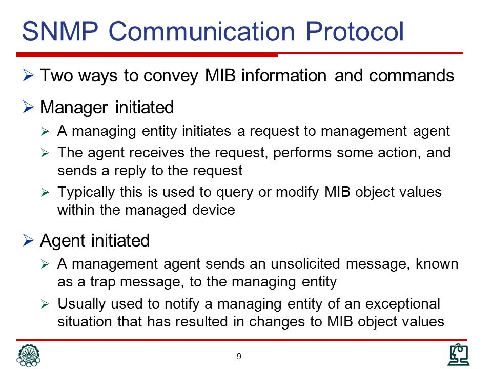 SNMP Management Models  Organization Model  Relationship between network element, agent, and manager  Hierarchical architecture  Information Model  Uses ASN.1 syntax  SMI (Structure of Management Information  MIB (Management Information Base)  Communication Model  Communication services addressed by messages  Security Model  Security framework community-based model 10