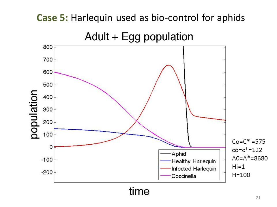 Case 5: Harlequin used as bio-control for aphids Co=C* =575 co=c*=122 A0=A*=8680 Hi=1 H=100 21