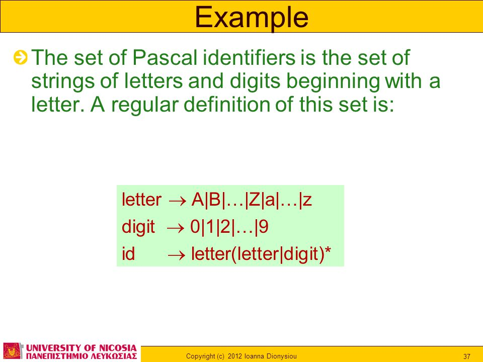 Copyright (c) 2012 Ioanna Dionysiou 37 Example The set of Pascal identifiers is the set of strings of letters and digits beginning with a letter. A re