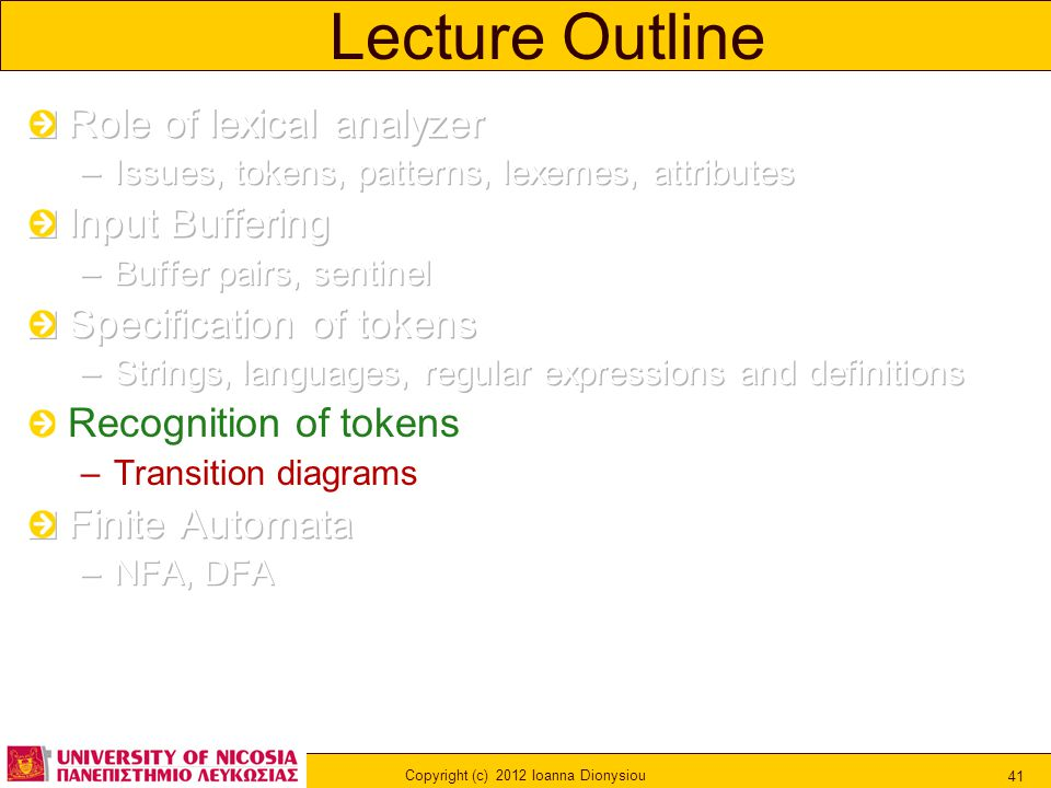 Copyright (c) 2012 Ioanna Dionysiou 41 Lecture Outline