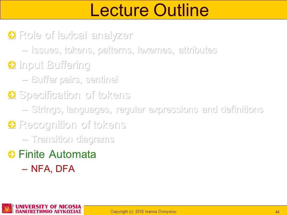 Copyright (c) 2012 Ioanna Dionysiou 44 Lecture Outline
