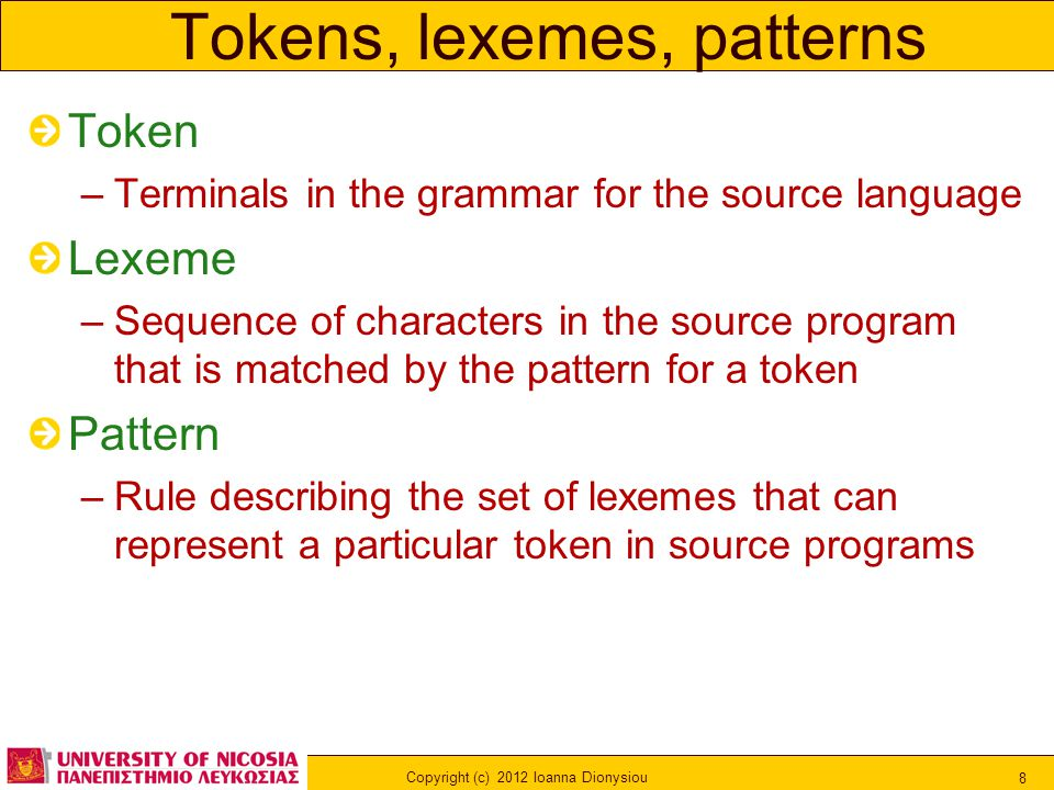 Copyright (c) 2012 Ioanna Dionysiou 8 Tokens, lexemes, patterns Token –Terminals in the grammar for the source language Lexeme –Sequence of characters