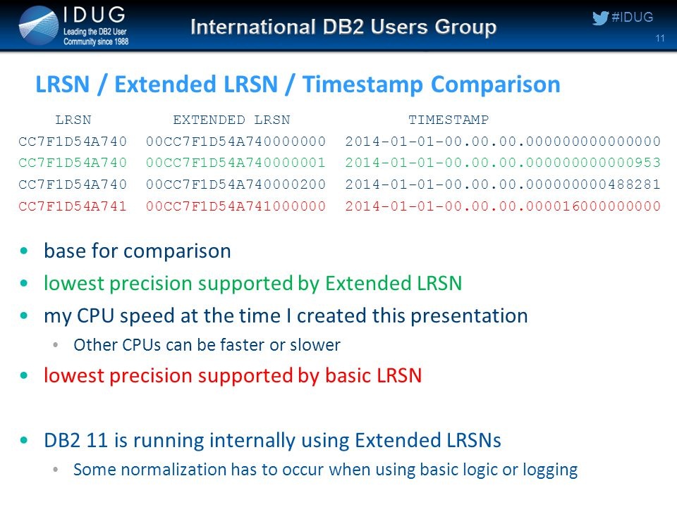 #IDUG LRSN / Extended LRSN / Timestamp Comparison LRSN EXTENDED LRSN TIMESTAMP CC7F1D54A740 00CC7F1D54A740000000 2014-01-01-00.00.00.000000000000000 CC7F1D54A740 00CC7F1D54A740000001 2014-01-01-00.00.00.000000000000953 CC7F1D54A740 00CC7F1D54A740000200 2014-01-01-00.00.00.000000000488281 CC7F1D54A741 00CC7F1D54A741000000 2014-01-01-00.00.00.000016000000000 base for comparison lowest precision supported by Extended LRSN my CPU speed at the time I created this presentation Other CPUs can be faster or slower lowest precision supported by basic LRSN DB2 11 is running internally using Extended LRSNs Some normalization has to occur when using basic logic or logging 11