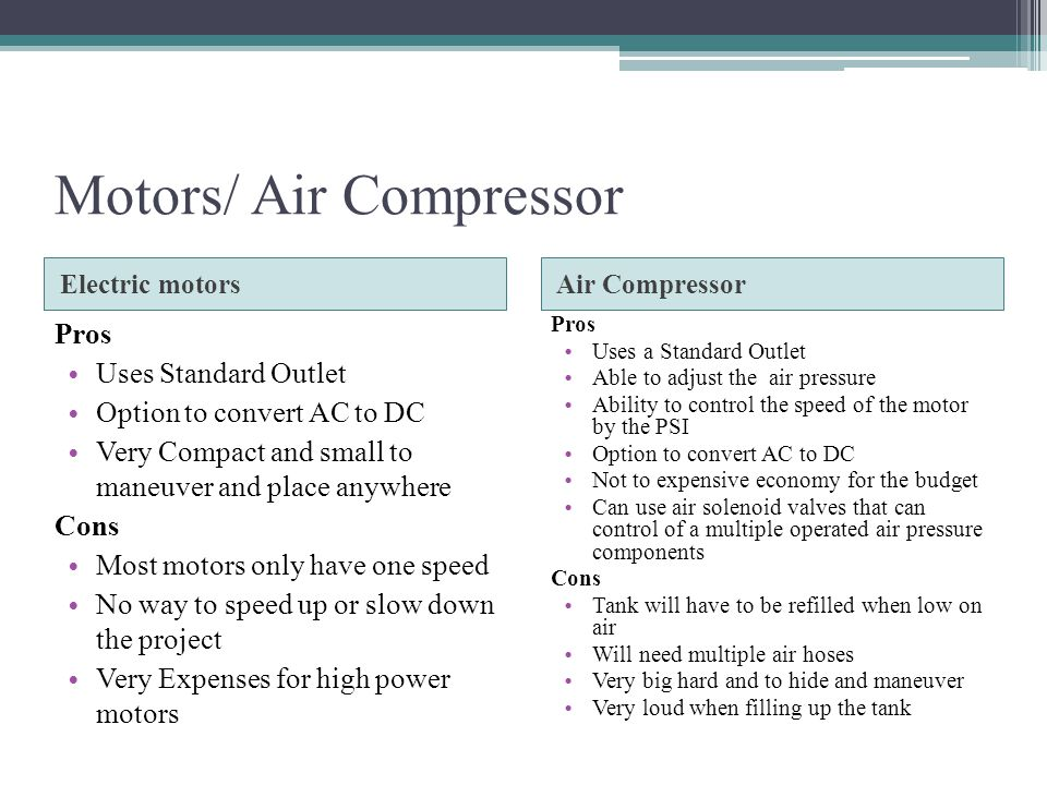 Motors/ Air Compressor Electric motorsAir Compressor Pros Uses Standard Outlet Option to convert AC to DC Very Compact and small to maneuver and place