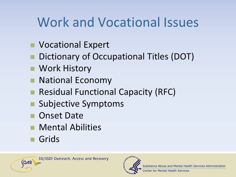 Work and Vocational Issues Vocational Expert Dictionary of Occupational Titles (DOT) Work History National Economy Residual Functional Capacity (RFC)