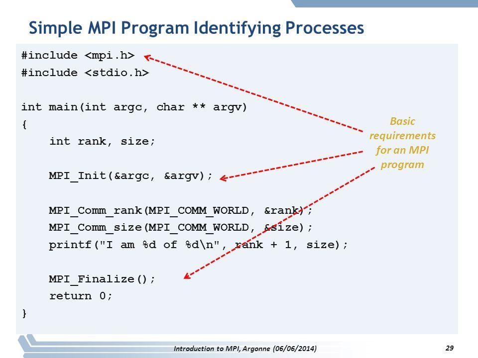 #include int main(int argc, char ** argv) { int rank, size; MPI_Init(&argc, &argv); MPI_Comm_rank(MPI_COMM_WORLD, &rank); MPI_Comm_size(MPI_COMM_WORLD, &size); printf( I am %d of %d\n , rank + 1, size); MPI_Finalize(); return 0; } Simple MPI Program Identifying Processes Introduction to MPI, Argonne (06/06/2014) 29 Basic requirements for an MPI program