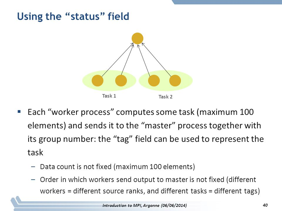 Using the status field  Each worker process computes some task (maximum 100 elements) and sends it to the master process together with its group number: the tag field can be used to represent the task –Data count is not fixed (maximum 100 elements) –Order in which workers send output to master is not fixed (different workers = different source ranks, and different tasks = different tags) Task 1 Task 2 Introduction to MPI, Argonne (06/06/2014) 40