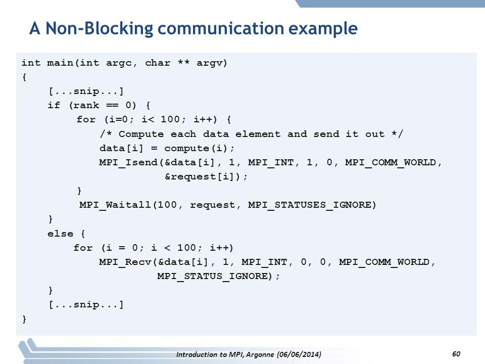int main(int argc, char ** argv) { [...snip...] if (rank == 0) { for (i=0; i< 100; i++) { /* Compute each data element and send it out */ data[i] = compute(i); MPI_Isend(&data[i], 1, MPI_INT, 1, 0, MPI_COMM_WORLD, &request[i]); } MPI_Waitall(100, request, MPI_STATUSES_IGNORE) } else { for (i = 0; i < 100; i++) MPI_Recv(&data[i], 1, MPI_INT, 0, 0, MPI_COMM_WORLD, MPI_STATUS_IGNORE); } [...snip...] } A Non-Blocking communication example Introduction to MPI, Argonne (06/06/2014) 60
