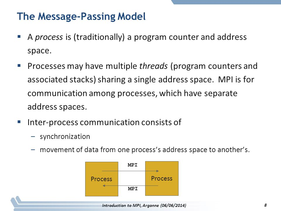 The Message-Passing Model  A process is (traditionally) a program counter and address space.