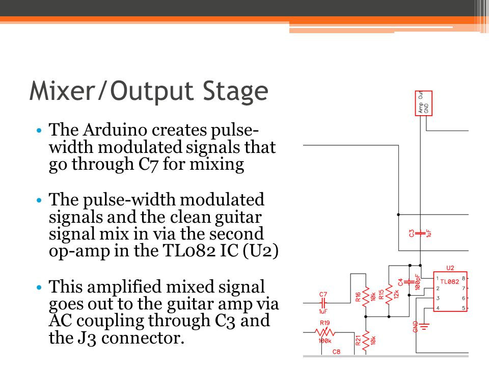 Mixer/Output Stage The Arduino creates pulse- width modulated signals that go through C7 for mixing The pulse-width modulated signals and the clean gu