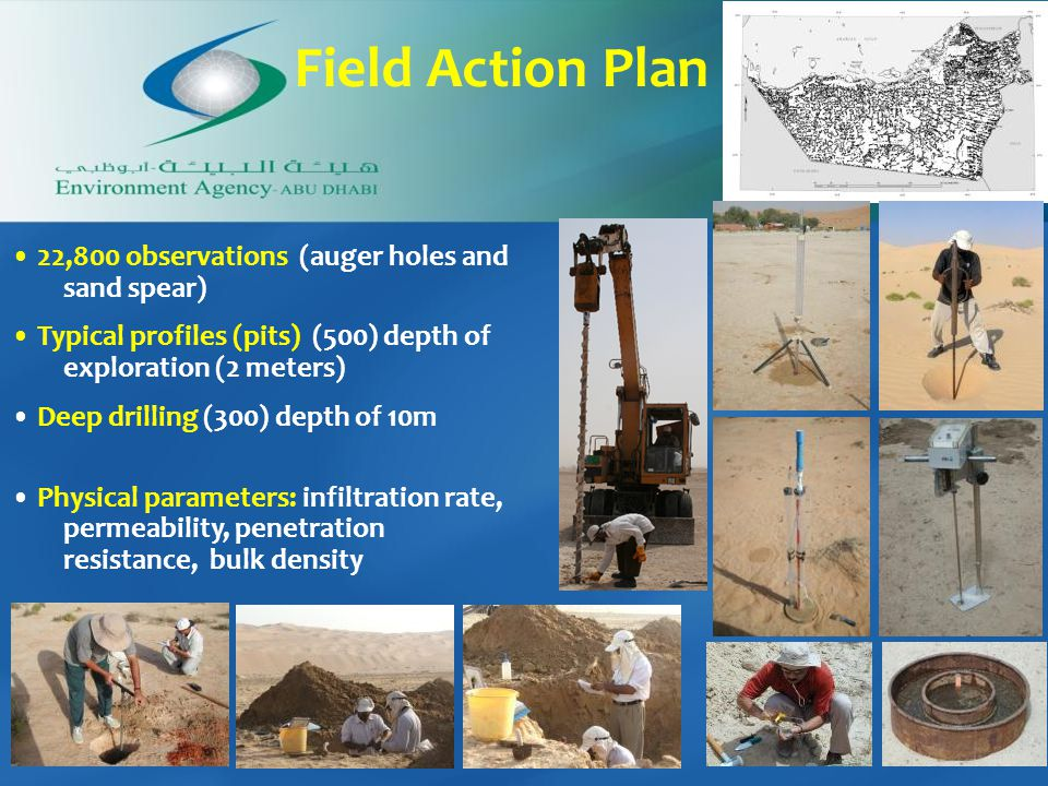 Field Action Plan 22,800 observations (auger holes and sand spear) Typical profiles (pits) (500) depth of exploration (2 meters) Deep drilling (300) depth of 10m Physical parameters: infiltration rate, permeability, penetration resistance, bulk density