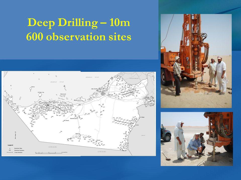 Deep Drilling – 10m 600 observation sites