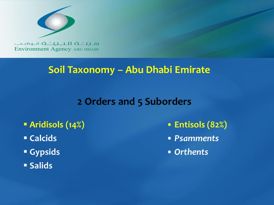  Aridisols (14%)  Calcids  Gypsids  Salids Entisols (82%) Psamments Orthents 2 Orders and 5 Suborders Soil Taxonomy – Abu Dhabi Emirate