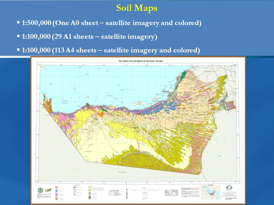 Soil Maps  1:500,000 (One A0 sheet – satellite imagery and colored)  1:100,000 (29 A1 sheets – satellite imagery)  1:100,000 (113 A4 sheets – satellite imagery and colored)
