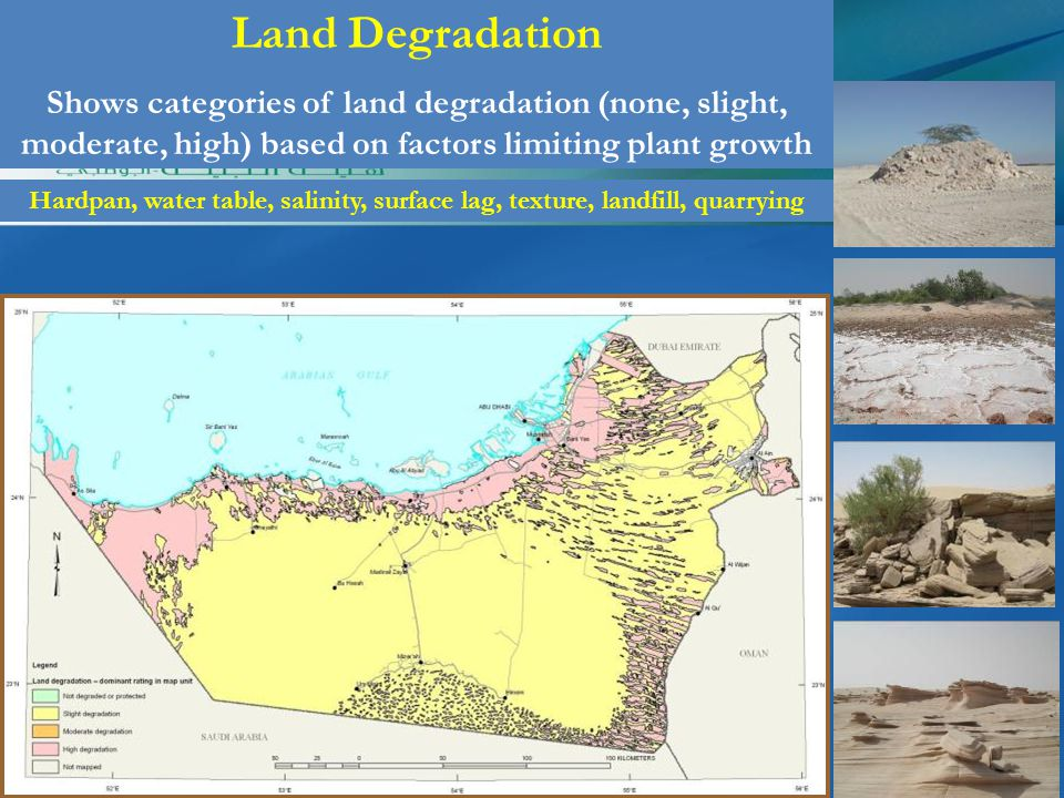 Land Degradation Shows categories of land degradation (none, slight, moderate, high) based on factors limiting plant growth Hardpan, water table, salinity, surface lag, texture, landfill, quarrying