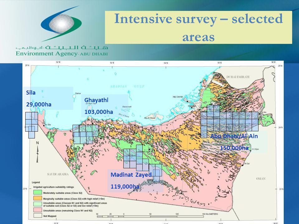 Intensive survey – selected areas Madinat Zayed 119,000ha Abu Dhabi/Al Ain 150,000ha Sila 29,000ha Ghayathi 103,000ha