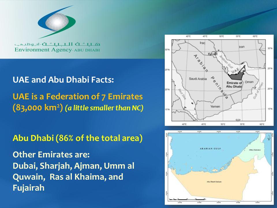 UAE and Abu Dhabi Facts: UAE is a Federation of 7 Emirates (83,000 km 2 ) (a little smaller than NC) Abu Dhabi (86% of the total area) Other Emirates are: Dubai, Sharjah, Ajman, Umm al Quwain, Ras al Khaima, and Fujairah