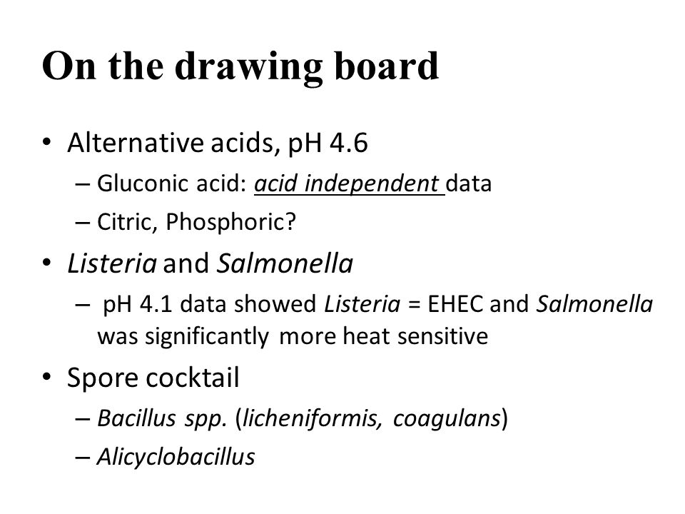 On the drawing board Alternative acids, pH 4.6 – Gluconic acid: acid independent data – Citric, Phosphoric.