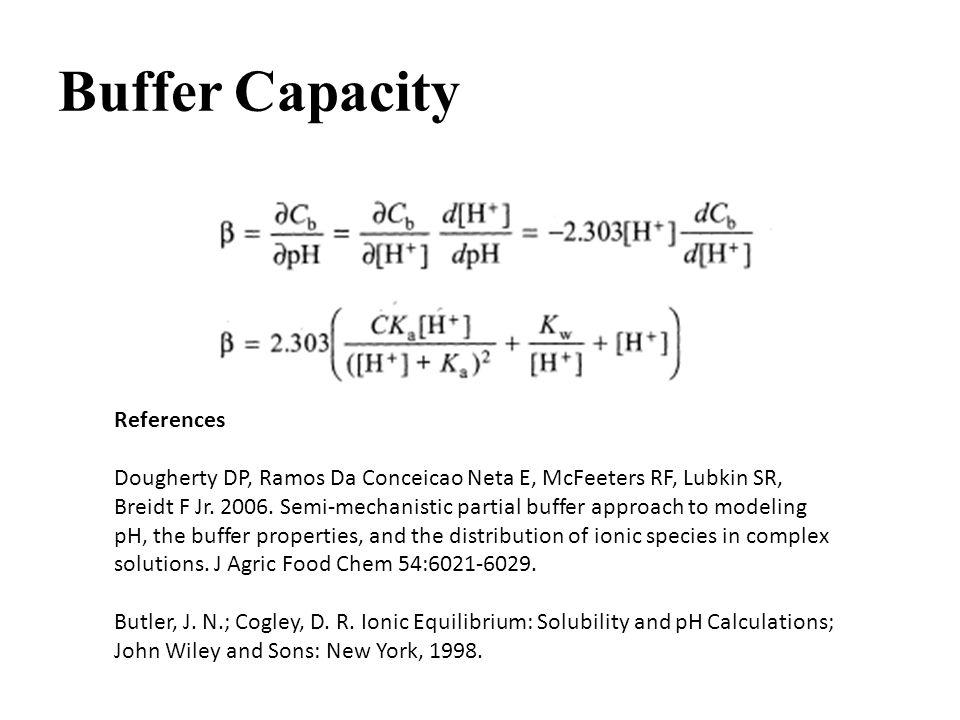 Buffer Capacity References Dougherty DP, Ramos Da Conceicao Neta E, McFeeters RF, Lubkin SR, Breidt F Jr.