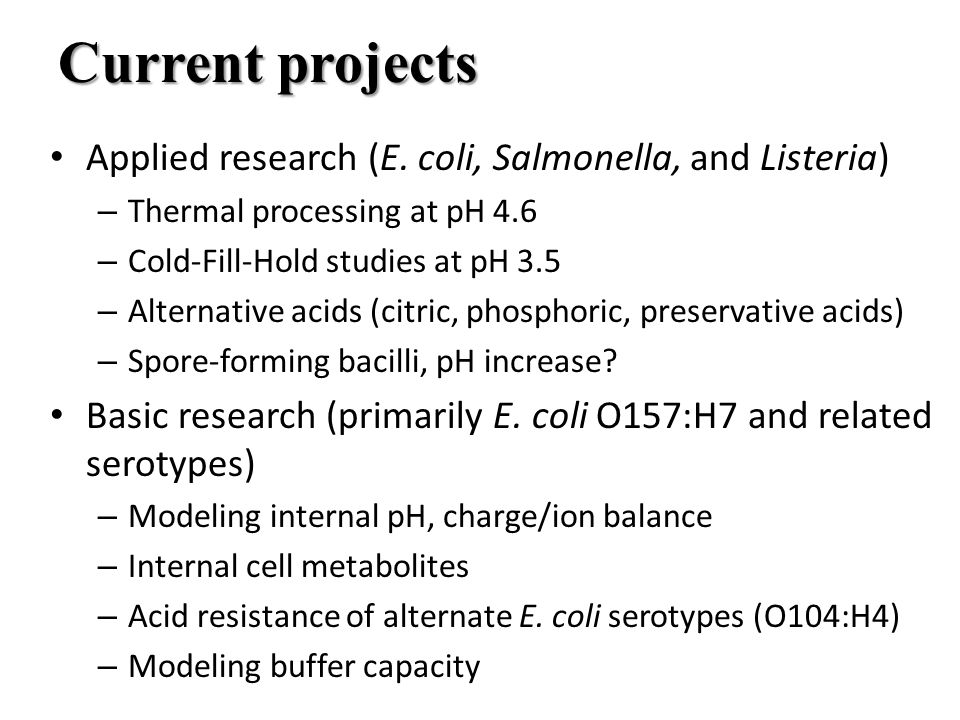 Current projects Applied research (E.
