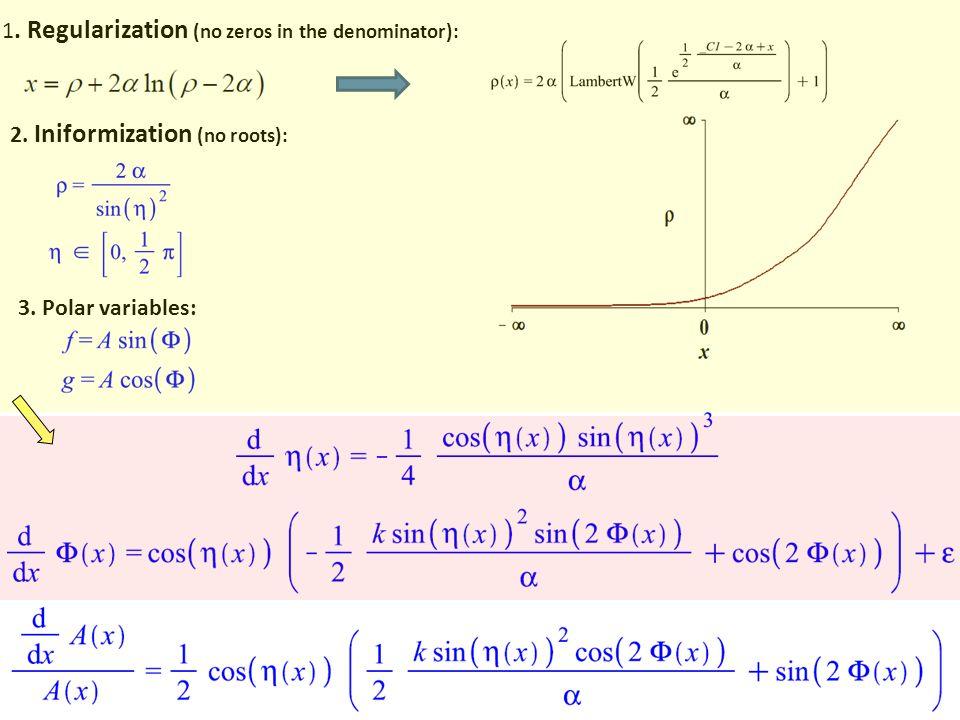 1. Regularization (no zeros in the denominator): 2. Iniformization (no roots): 3. Polar variables: