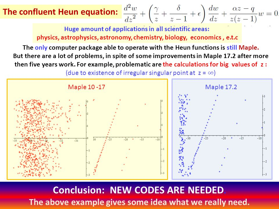 The confluent Heun equation: Huge amount of applications in all scientific areas: physics, astrophysics, astronomy, chemistry, biology, economics, e.t.c Maple 10 -17Maple 17.2 Conclusion: NEW CODES ARE NEEDED.