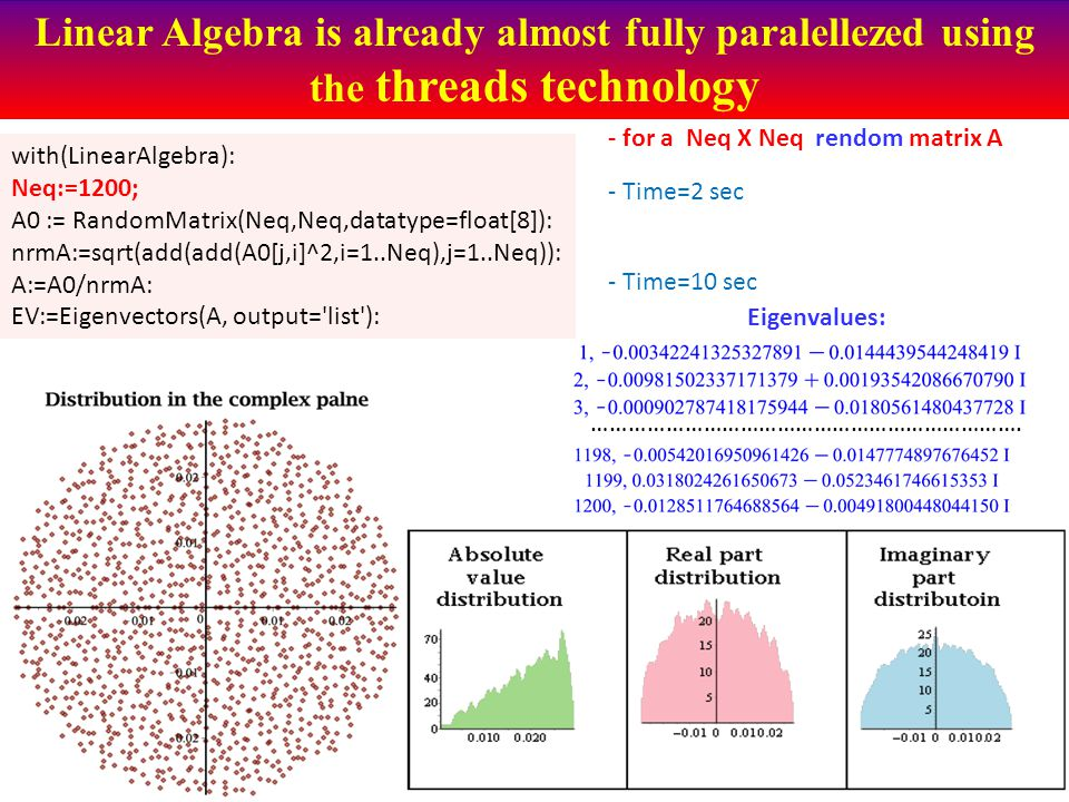 Linear Algebra is already almost fully paralellezed using the threads technology with(LinearAlgebra): Neq:=1200; A0 := RandomMatrix(Neq,Neq,datatype=float[8]): nrmA:=sqrt(add(add(A0[j,i]^2,i=1..Neq),j=1..Neq)): A:=A0/nrmA: EV:=Eigenvectors(A, output= list ): - Time=2 sec - Time=10 sec - for a Neq X Neq rendom matrix A …………………………………………………………….