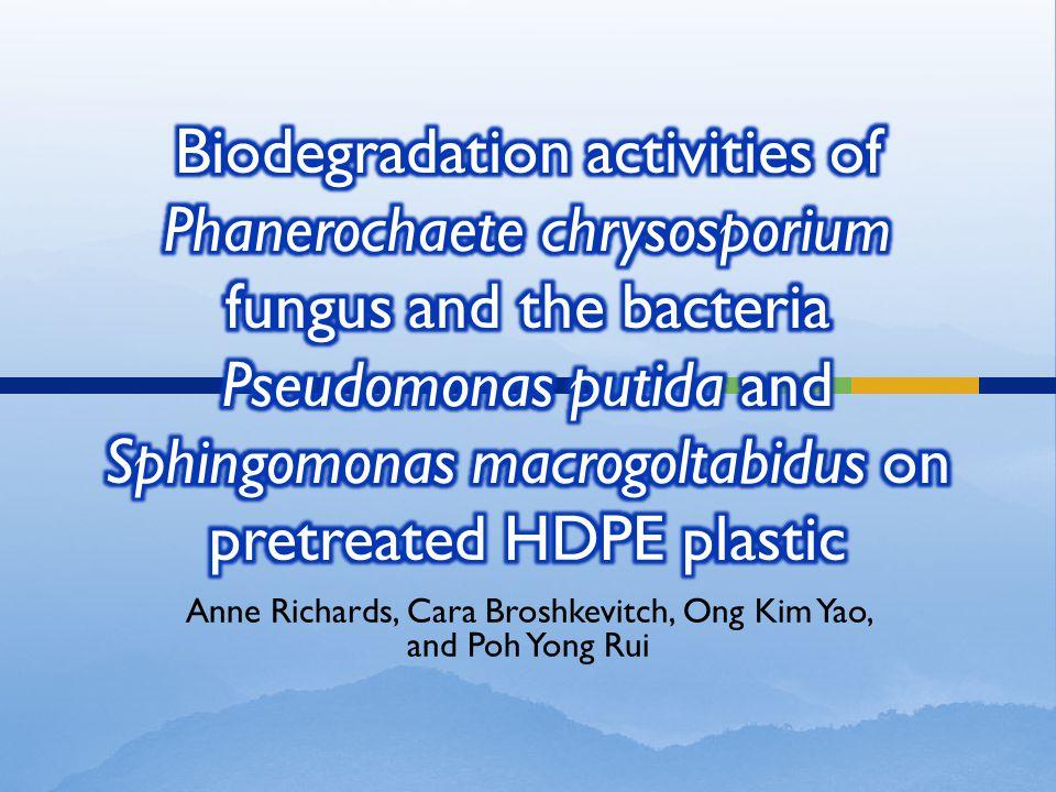 Aamer Ali Shah (2007).Role of Microorganism in Biodegradation of Plastics.