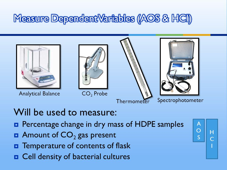Will be used to measure:  Percentage change in dry mass of HDPE samples  Amount of CO 2 gas present  Temperature of contents of flask  Cell density of bacterial cultures Thermometer CO 2 Probe Analytical Balance Spectrophotometer AOSAOS HCIHCI