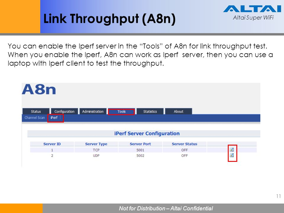 "Altai Super WiFi 11 Not for Distribution – Altai Confidential Altai Super WiFi Link Throughput (A8n) You can enable the Iperf server in the ""Tools"" of"
