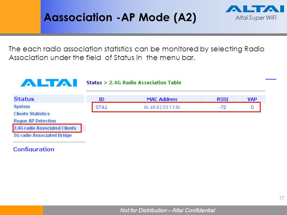 Altai Super WiFi 17 Not for Distribution – Altai Confidential Altai Super WiFi Aassociation -AP Mode (A2) The each radio association statistics can be