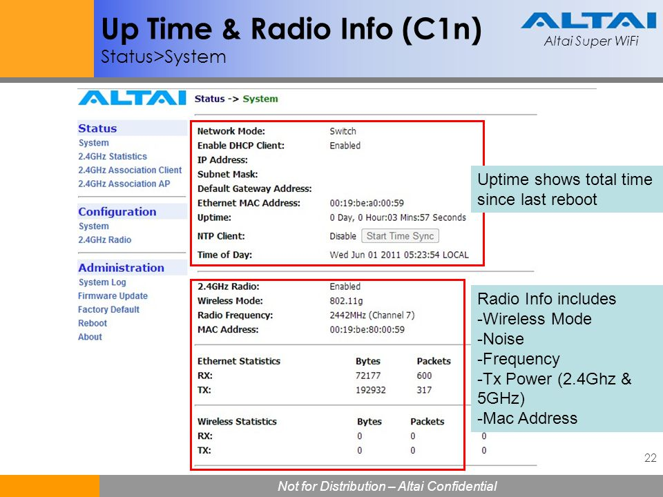 Altai Super WiFi 22 Not for Distribution – Altai Confidential Altai Super WiFi Up Time & Radio Info (C1n) Status>System Radio Info includes -Wireless