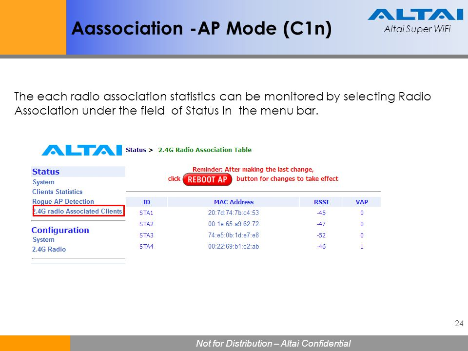 Altai Super WiFi 24 Not for Distribution – Altai Confidential Altai Super WiFi Aassociation -AP Mode (C1n) The each radio association statistics can b