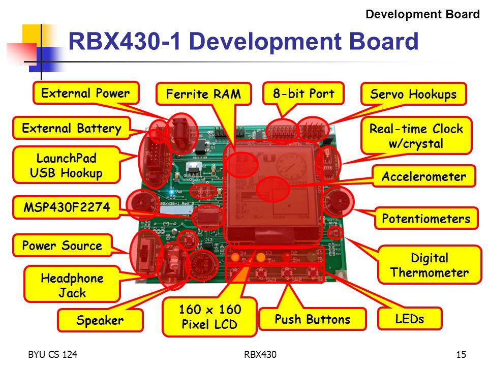 BYU CS 124RBX43015 RBX430-1 Development Board Development Board External Battery External Power LaunchPad USB Hookup MSP430F2274 160 x 160 Pixel LCD A