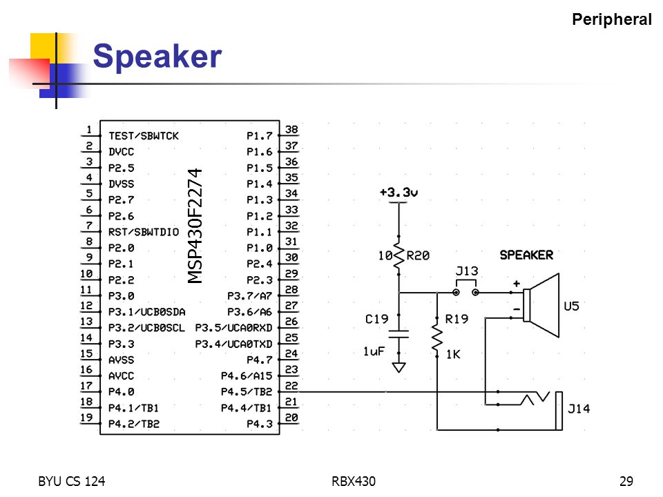 BYU CS 124RBX43029 Speaker MSP430F2274 Peripheral