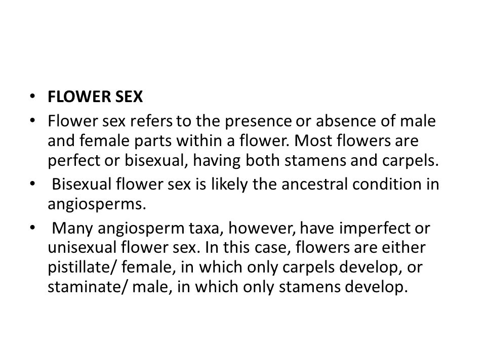 FLOWER SEX Flower sex refers to the presence or absence of male and female parts within a flower.