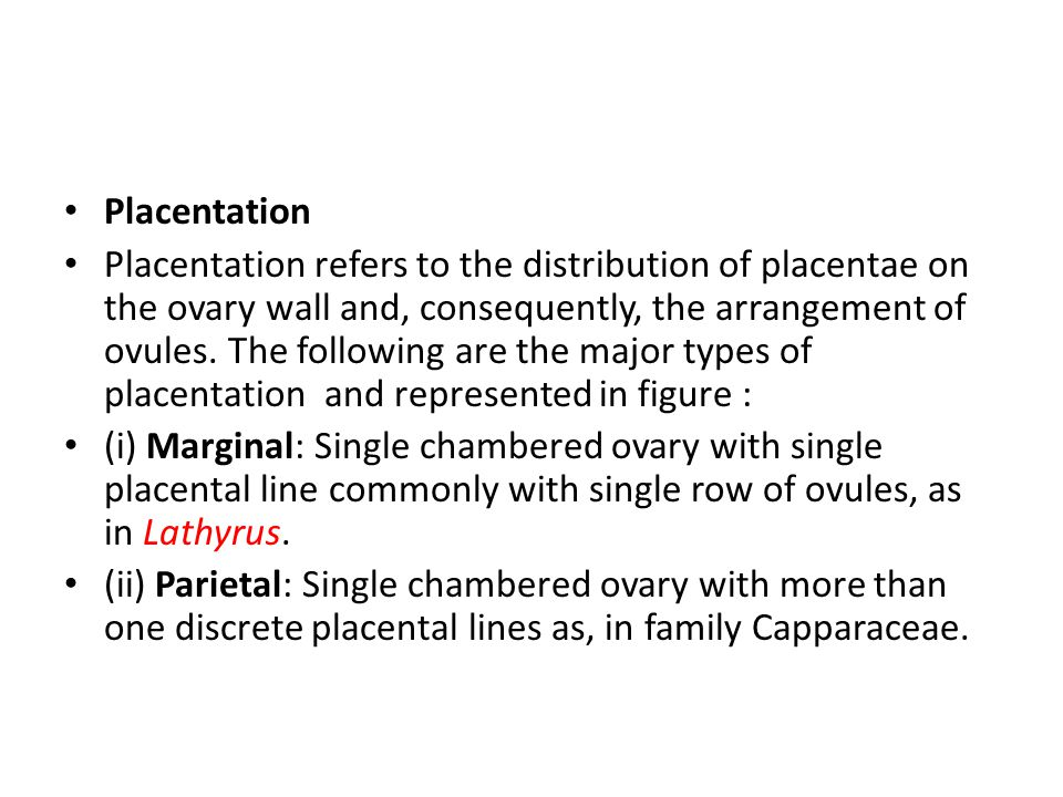 Placentation Placentation refers to the distribution of placentae on the ovary wall and, consequently, the arrangement of ovules.