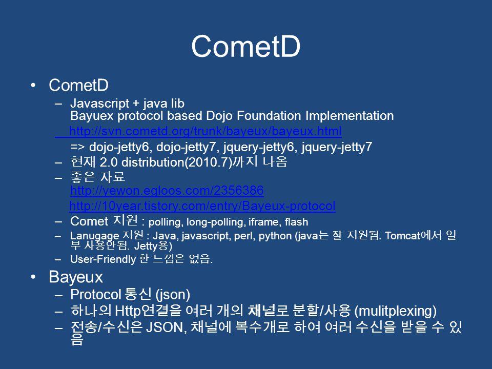 CometD –Javascript + java lib Bayuex protocol based Dojo Foundation Implementation http://svn.cometd.org/trunk/bayeux/bayeux.html => dojo-jetty6, dojo