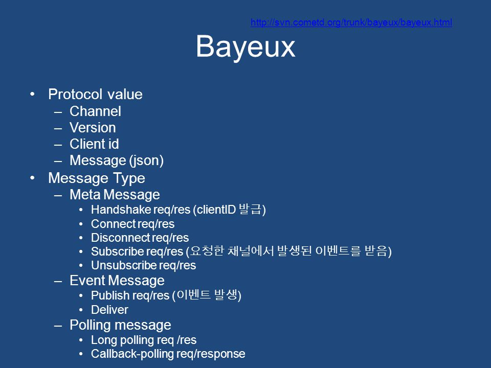 Bayeux Protocol value –Channel –Version –Client id –Message (json) Message Type –Meta Message Handshake req/res (clientID 발급 ) Connect req/res Disconn