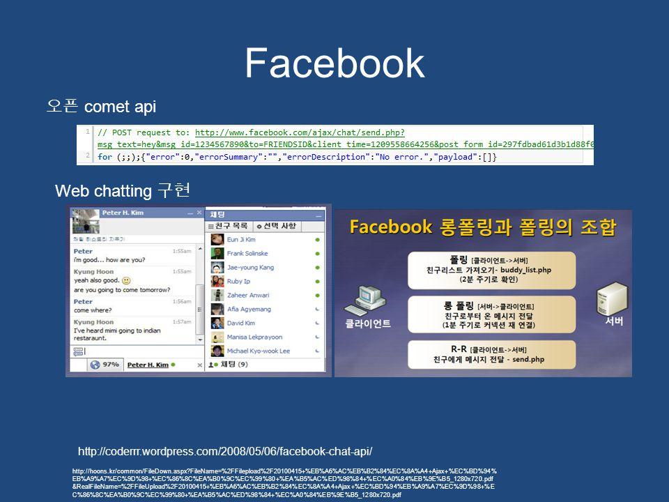 Facebook http://coderrr.wordpress.com/2008/05/06/facebook-chat-api/ 오픈 comet api Web chatting 구현 http://hoons.kr/common/FileDown.aspx?FileName=%2FFile