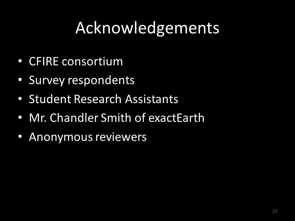 Acknowledgements CFIRE consortium Survey respondents Student Research Assistants Mr.