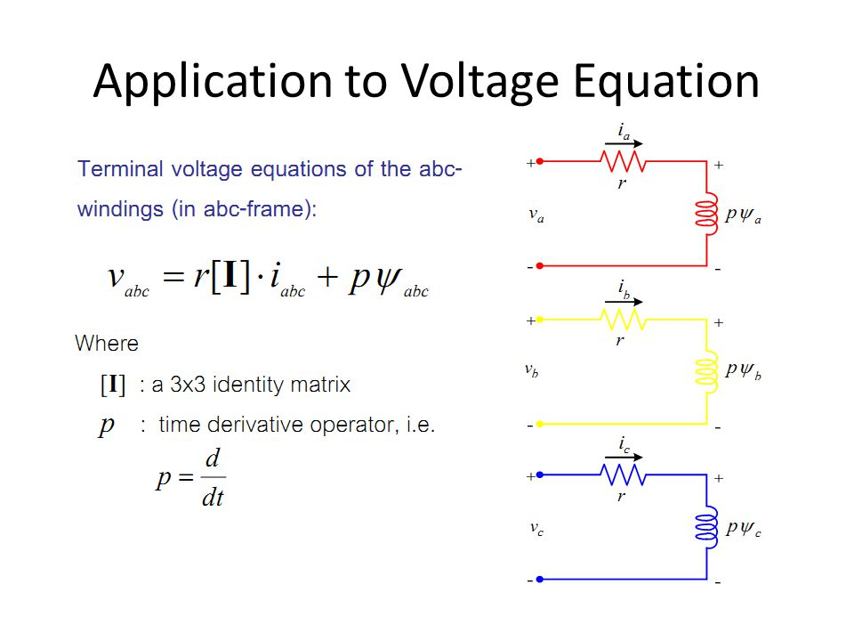 Application to Voltage Equation