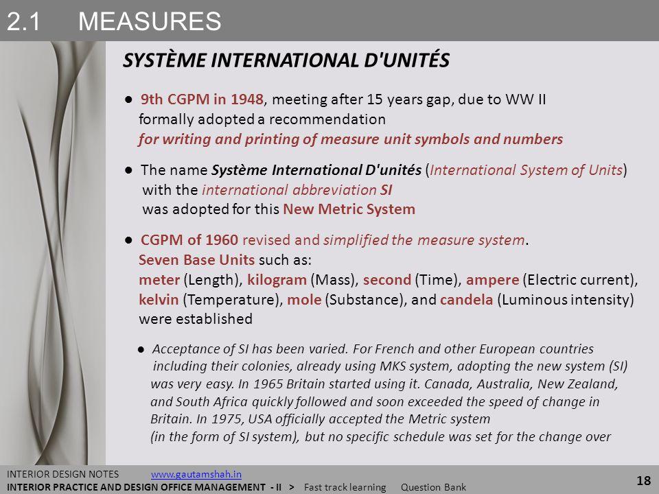 2.1 MEASURES SYSTÈME INTERNATIONAL D'UNITÉS 18 INTERIOR DESIGN NOTES www.gautamshah.inwww.gautamshah.in INTERIOR PRACTICE AND DESIGN OFFICE MANAGEMENT